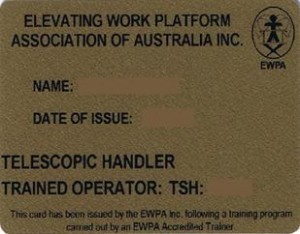 Gold Card for telehander or telescopic handler (EWPAA accredited trainer) Scissor Lift