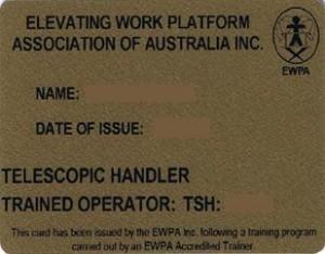 Gold Card for telehander or telescopic handler (EWPAA accredited trainer) Scissor Lift